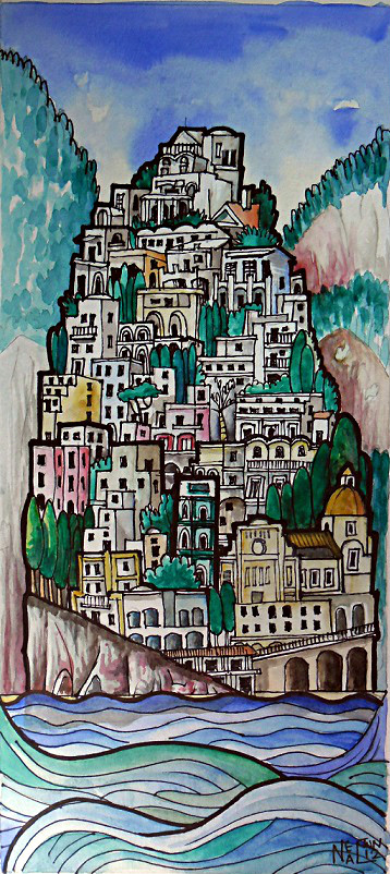Positano - Celeb Playground Watercolour and ink 12cm - 36cm (Sold)
