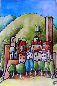 Borgo di Santa Giuliana Watercolour and ink. 15cm x 24cm (For Sale)