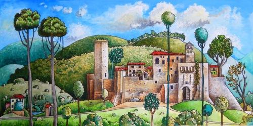 Painting Medieval village