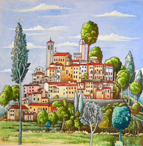 Painting Umbrian village