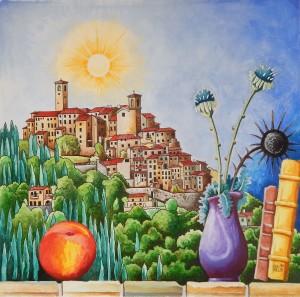 Watercolor still life landscape